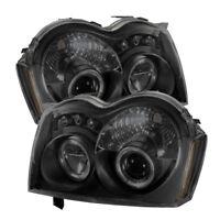 Fit Jeep 05-07 Grand Cherokee Black Smoke DRL Dual Halo LED Projector Headlights