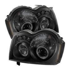 Jeep 05-07 Grand Cherokee Black Smoke DRL Dual Halo LED Projector Headlights