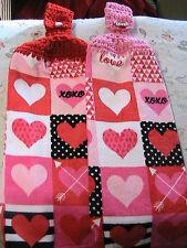 HEARTS & LOVE Lot of 2 CROCHET TOP KITCHEN, BATH, SHOP HAND COTTAGE TOWELS