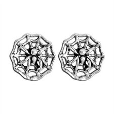 Sterling Silver Spider On Web Stud Earrings New