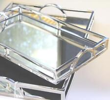 LARGE ARCH MIRRORED RECTANGLE CHROME SERVING TRAY 56x36cm Coffee Table/Wedding