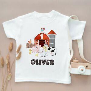 Personalised 1st Birthday Toddler T Shirt Children Kids Gift First Farm Animals