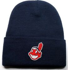 READ LISTING! Cleveland Indians HEAT Applied Flat Logo on Beanie Knit Cap hat!!