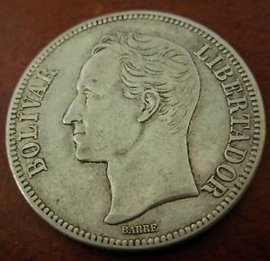 Venezuela 1935 Silver 5 Bolivares XF - AU Bolivar