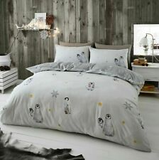 Printed Flannel Thermal Brush Cotton Duvet Set PENGUIN Snow Crystals Flakes Art