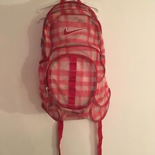 RARE Nike •PINK/RED PLAID/WHITE• XL Mesh Backpack