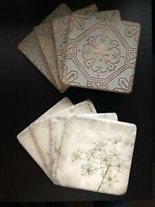 coasters ceramic set of 4 drinks table 10cm square approx boxed