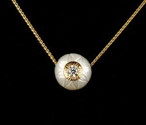 CARVED LOTUS GENUINE 11.4MM WHITE PEARL & DIAMOND 14K GOLD DROP PENDANT NECKLACE