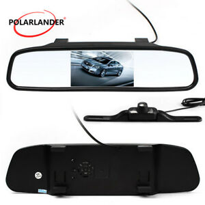 4.3'' LCD Rearview Parking Mirror Monitor Long Car License Plate Frame Camera