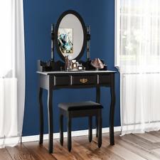Nishano 1 Drawer Dressing Table Black Bedroom Stool Mirror Makup Desk Dresser