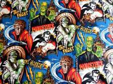 Cotton Fabric Horror Movie Classic Movie Monsters Halloween Dracula Frankenstein