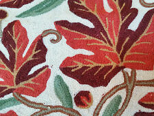 """Autumn Leaves 15"""" ARI 100% Covered in Crewel Chain-Stitch Embroidery Pillow-Case"""