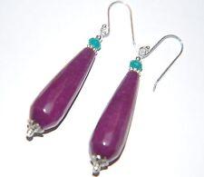 Orchid PURPLE & Teal JADE Sterling Silver Earrings ~ long tear drop ~ 42mm
