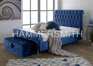 Stylish Design Sleigh Bed Frame Upholstered Chesterfield in Crushed Velvet Bed