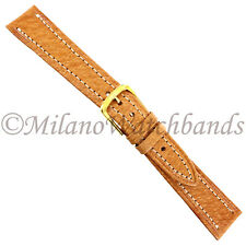 17mm Downing London Tan Genuine Turned Edge Pigskin Stitched Watch Band 803-717