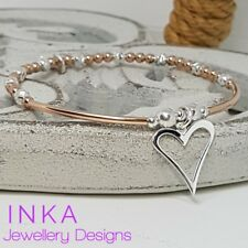 Inka 925 Sterling Silver Stacking Bracelet Rose gold Beads and Open Heart charm