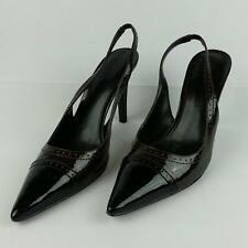 RALPH LAUREN Women's Black/Brown Pointed Cap Toe Slingback Heels Pump Size 9.5M