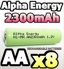 8 x 2300mAh AA RECHARGEABLE BATTERIES 1.2v Ni-MH LR6 PHONE SOLAR LIGHT POWERFUL