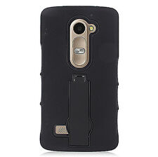 Black Hybrid Case Cover w/Stand For LG Leon 4G LTE C40 H340N