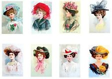 Proper Maidens Big Feather Hats Cotton Fabric Quilt Blocks FrEE ShiP WoRld WiDE