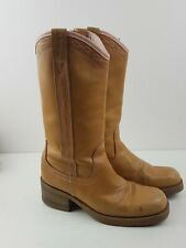 Wrangler Classic Vintage Tan Leather Boho Cowboy Boots Size 5 EU 37.5