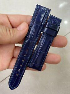 Blue navy GENUINE ALLIGATOR CROCODILE LEATHER SKIN WATCH STRAP BAND 18mm