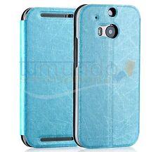 FUNDA SOPORTE de PIEL TEXTURIZADA AZUL para HTC ONE 2 (M8) case flip libro