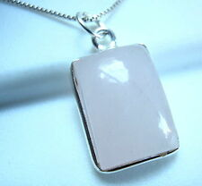 Sterling Silver Imported from India Rose Quartz Necklace Basic Rectangle 925