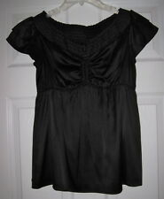 NWT ARDEN B. BLACK SILK BLEND KEYHOLE RUCHED S TOP BLOUSE