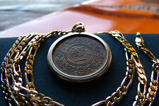 "ANTIQUE Copper JAPANESE SEN COIN PENDANT w/ 18K  24"" GOLD FILLED FIGARO CHAIN."