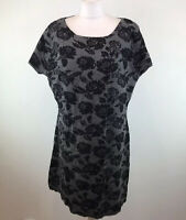 Phase Eight Alpaca Wool Blend Jumper Dress Grey Black Floral Size 18 uk