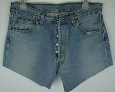 "Women`s Levi`s 501 High Waisted Denim Shorts Size UK 12 / W32"" Cut Off Jeans"