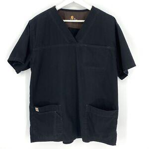 Carhartt Mens Size Medium Scrubs Shirt Top Black 1 Pocket Medical Nurse Career