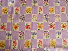 MICHAEL MILLER Garden Checkerboard Floral & Mauve Quality Quilt Cotton FAT 1/4