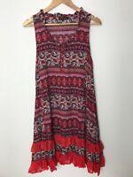 Caroline Morgan Red Floral Knee Length Shift Dress Frills Sleeveless Size 14