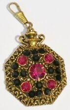 pendentif porte clef mousqueton cristal rouge noir bijou vintage couleur or 5188