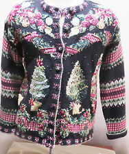 HEIRLOOM COLLECTIBLES FESTIVE UGLY XMAS CARDIGAN BLACK MULTI WITH TREES SIZE S