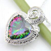 Love Heart Rainbow Mystic Fire Topaz Gems Vintage Silver Heart Necklace Pendants