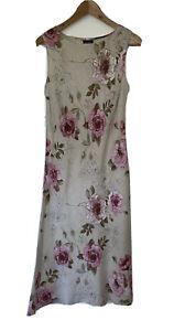 Marilyn Anselm Design Hobbs Cream Beige & Pink Linen Floral Dress Size 12 Vgc