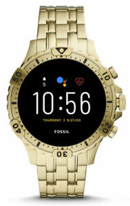 Fossil Garrett HR Gen 5 46mm Stainless Steel Smart Watch, Gold-Tone (FTW4039P)