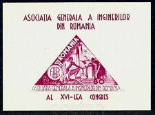 1945 Masonic,Masonry,Airplane,Steel Industry,Engineer,Romania,Bl.29,CV$20,MNH