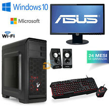 PC DESKTOP COMPUTER FISSO WINDOWS 10 ORIGINALE RAM 8GB/HDD 1000GB + MONITOR 22""