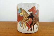Retro Laurel Burch Stoneware Mug - 1990 - Native Horses - Made in Japan - Exc