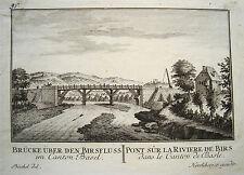 Basel Brücke über den Birs Pont  Schweiz Kupferstich von Herrliberger 1758