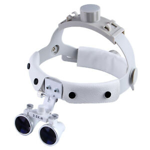 3.5X Dental Surgical Medical Headband Binocular Loupes Magnifier White CE