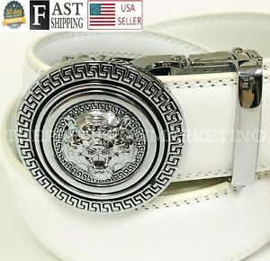 Men White Designer Leather Belt Sliding Ratchet Automatic Silver Buckle Holeless
