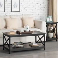 Wood Coffee Table with Storage Shelf Living Room Furniture Modern X Design Decor
