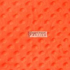 "Minky Minkee Chenille Dot Soft Fabric Cuddle Neon Orange 60""W 15 Yard Bolt Sell!"