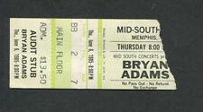 1985 Bryan Adams Survivor Concert Ticket Stub Memphis Eye Of The Tiger Reckless
