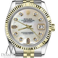 White Pearl Face Rolex 18K SS 26mm Datejust MOP Mother Of Pearl 8+2 Diamond Dial
